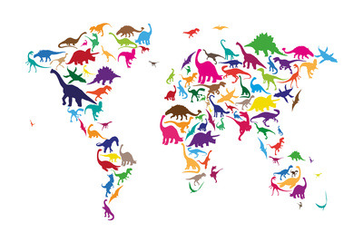 passionate-geographer:  Dinosaur Map of the World Map on We Heart It - http://weheartit.com/entry/46617895/via/angcarvalho
