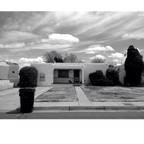 Manzano house. Shot with @hueless #blackandwhite #trashday #newmexico #albuquerque #clouds #monochrome