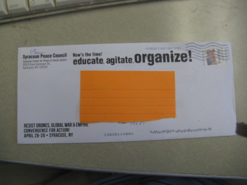 Now THAT'S an envelope for an organizer!  Good job, Syracuse Peace Council.