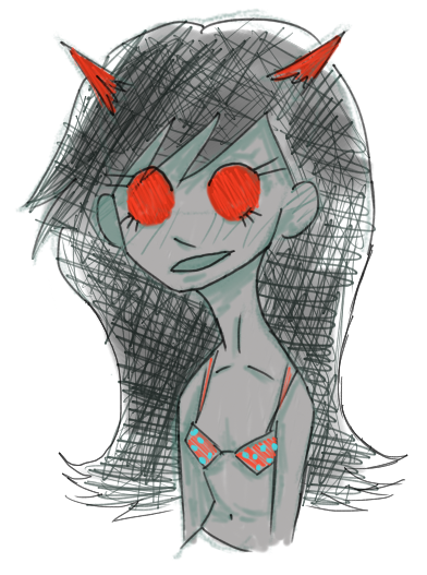 uuuugggghhhh long haired terezi that no one asked foooorrrr in a bra apparently  fuckgndg sleepy