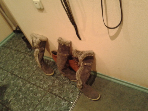 my mom has a lot of boots…