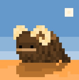 "A Bantha, the infamously hairy beast of burden from the ""Star Wars"" Universe, now rendered in it's own very tiny 28 x 28 pixel scene.  Who doesn't love a tiny Bantha ?"