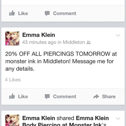 #monsterink #piercing #bodypiercing #middleton #emmakleinbodypiercing #facebook #business