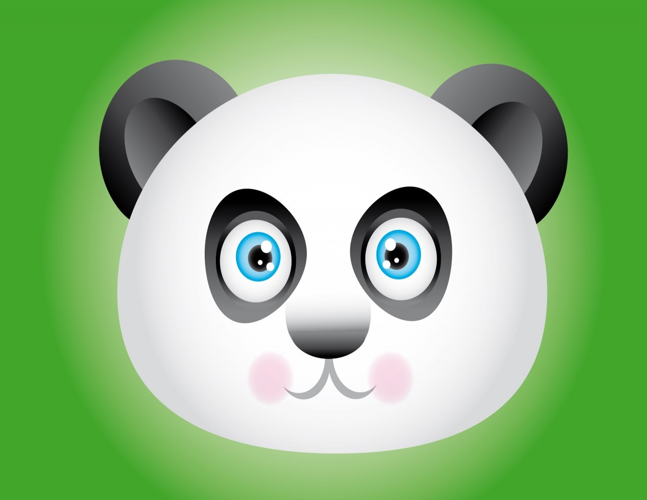 Panda. Drawn by the tutorial -  http://vectips.com/tutorials/create-a-cute-panda-bear-face-icon/