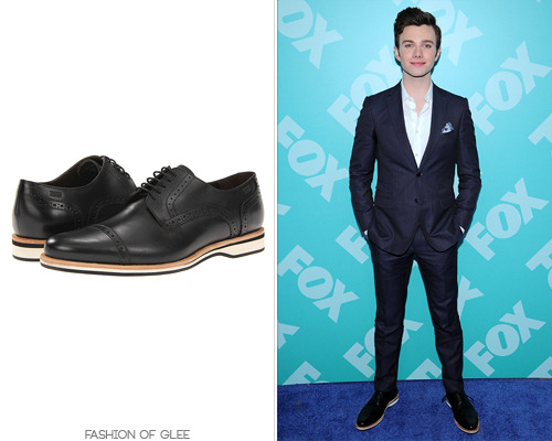 fashionofglee:  Chris Colfer arrives at the 2013 Fox Upfronts, New York City, May 13, 2013 Hugo Boss Black 'Newiro' Brogues - $275.00  I love what the kid is wearing for once!