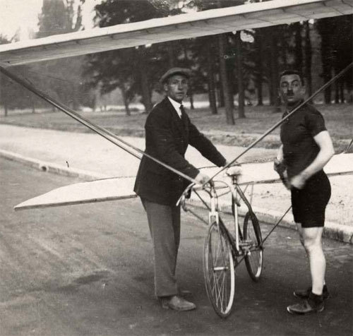 """The cyclist Gabriël Poulain (1884-1953) had the dream for his bike to fly. Here he is in a wing bike. France, 1921."" (via)"
