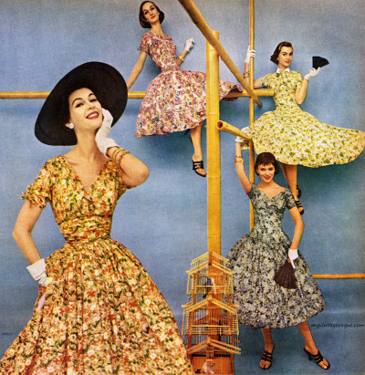 myvintagevogue:  American Rayon Institute 1955 Dovima (L) Evelyn Tripp (top L) Sandy Brown (R)