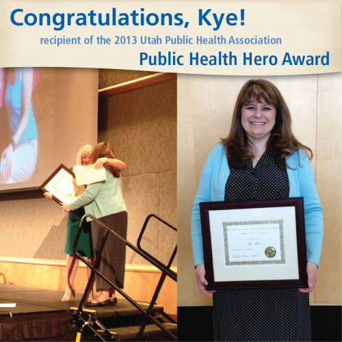 pubhealth:  uvrmc:  She'll never brag about it, so we'll do it for her. Kye Miner, Intermountain's community benefit manager for Utah County, was honored with the the 2013 Public Health Hero award from the Utah Public Health Association. Kye works tirelessly to help improve access to healthcare resources in the county and make valuable resources widely known.Kye was specifically honored for her contributions to the Utah County Dental Campaign, a collaborative project with Community Health Connect that provides dental kits to 15,000 children in all Utah County Title I schools.Our community is lucky to have her. Join us in LIKING Kye's accomplishment.  A public health hero… one of many who work day and night to improve the health of communities across the US and whose actions  are not commonly  recognized or acknowledged.