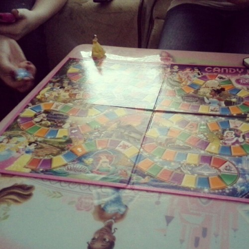 Disney princess candy land on a princess table at some person we don't know's house. Yep.