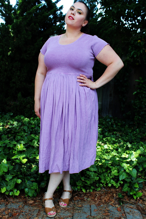 Plus Size Vintage Lavender Thermal & Crinkled Gauze Empire Waist Dress (Size L 14/16) - $45  <— New Shop Item!