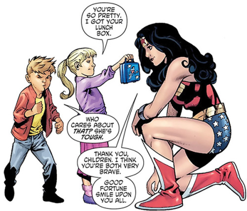"wonderofthemyscira:  ""Thank you, children. I think you're both very brave.""  From ""Wonder Woman: Contagion,"" by Gail Simone. Art  by Nicola Scott."