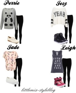 littlemix-styleblog:  *REQUESTED* LM Inspired ft Black Leggings for a 12 yr. old by little-mix-fashion featuringlipsy French Connection long sleeve top / One Teaspoon vintage top, $64 / Cream sweater, $27 /Oversized top, $24 / Lipsy , $23 / Pastry hi top shoes, $115 / Pastry black sneaker, $90 / Rocha.John Rocha wingtip oxford, $43 / Faith shoes, $34