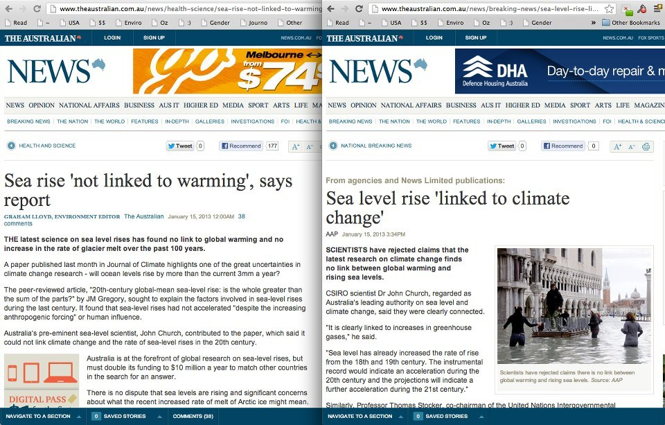 "Same report, same newspaper, two different stories. How The Australian distorts the wire services to service their own reality. Original Source Documents The AAP Article Graham Lloyd's ""Article"" from The Australian"