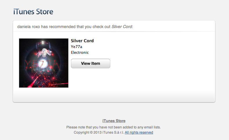ye77a:   to let you know that SILVER CORD is now at iTunes