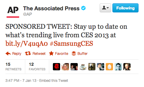 Today, the AP ran a sponsored tweet. Here's the backstory about the tweets, which the Associated Press will run throughout the week, as part of Samsung's pitch during the Consumer Electronics Show.