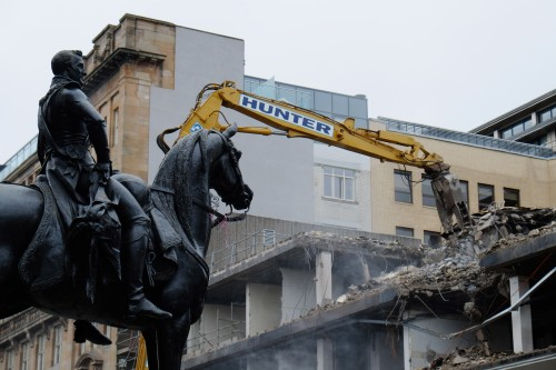 The Duke of Wellington personally oversees the demolition of Brutalist buildings in Glasgow. March 2013.