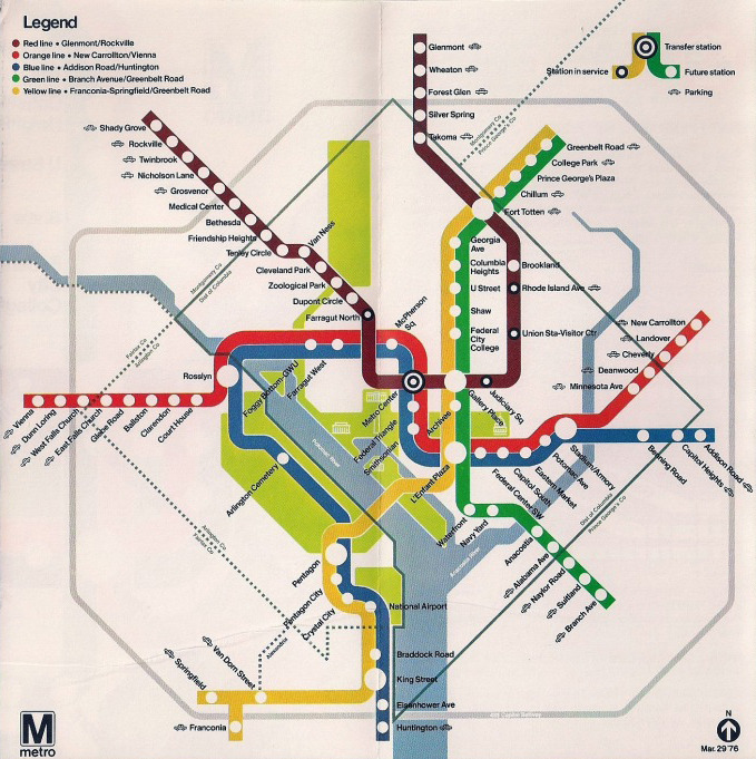 "Historical Map: ""Opening Day"" Washington, DC Metro Map, 1976 Directly related to yesterday's post, here's an even older map of the Washington, DC Metro — this one is from an informational pamphlet released for the March 29, 1976 opening of the first part of the system, and is clearly dated at he bottom right. Inexplicably, the Red Line is a dark burgundy colour, while the Orange Line is shown as red, even though they're both clearly labelled correctly in the legend. How a printing error of this magnitude occurred is beyond me: with four-colour printing, you'd have to add about 40 percent more magenta ink to turn orange into red, and turning red into burgundy requires the addition of a lot of black ink where absolutely none should exist. Totally bizarre! In another difference from yesterday's map, you can see that neither Dupont Circle or Gallery Place are open for business yet. Finally, long time correspondent Matt Johnson — who knows more about the Washington Metro than I ever will — has sent in some interesting information regarding some of the alignments shown on these old maps.  I noted yesterday that these old maps don't have the distinctive kink in the Yellow/Green line near U Street — Matt tells me that's because at this time there wasn't planned to be one. As shown, the plan was for the Green and Yellow Lines to continue directly north from 7th Street into Georgia Avenue (the northern extension of 7th Street) to Kansas Avenue and then on to the current alignment at Fort Totten. Later changes pushed the alignment across to 14th Street and then along New Hampshire Avenue to Fort Totten. And thus, a distinctive visual feature of the modern map was born (and here was I thinking that they put it in to accommodate the ridiculous length of U Street station's current name!) Matt also notes that the southern end of the Green Line was changed over time to something of a ""hybrid"" alignment. Originally, he says, the Green Line was to go to Rosecroft via Congress Heights. By the 1970s, that had changed, and the new plan was to send the line to Branch Avenue via Alabama Avenue, as shown on this map. However, a lawsuit was brought that WMATA had not held public hearings in the DC area, and as a result a hybrid alignment was chosen. In DC, the line went via Congress Heights (as if it was going to Rosecroft). In Prince George's the line headed for Branch Avenue. At the District Line, there's a kink to connect the two different alignments.  Strangely, that kink only appeared on the official map with the recent Rush+ revision, even though it's always physically been there! (Source: later in the same Subchat.com thread from yesterday)"