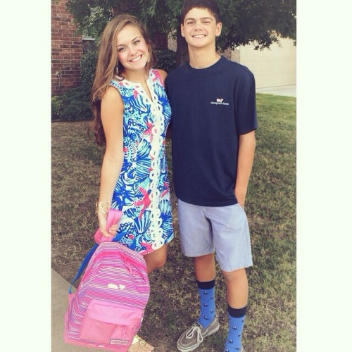 preppy-southern-class:  First day of school with the best bro!!