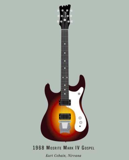 Kurt Cobain's 1968 Mosrite Mark IV Gospel + More Illustrations of Some of Rock's Most Famous Guitars
