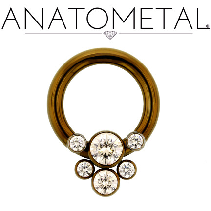 anatometal:  12ga Front Facing Circular Barbell with Captive Gem Cluster in ASTM F-136 titanium, anodized bronze; Champagne CZ gemstones