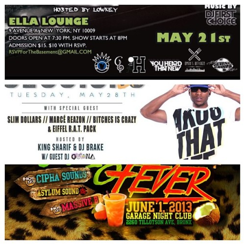 2 shows 1 party 3 dates to lock in!   May 21st (Ella lounge) : Denzil Porter,  Mandee Monet, Jaehall & more.   May 28th (Sullivan Hall): Denzil Porter, Marcé Reazon, Slim Dollars & More  June 1st (The Garage) : Cipha Sounds, Massive B, Asylum sounds.   #wreckhouse #vaporsnyc #citysliq #hot97 #uptown #bronx #akoo #firstlookitv #gboyz #youheardthatnew #hillman #massiveb #ciphasounds