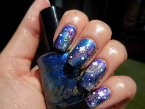 My very first attempt at galaxy nails! I did these very fast and I definitely need to work on my big stars, but I'm happy with them for a first try. I am always late to the party!!