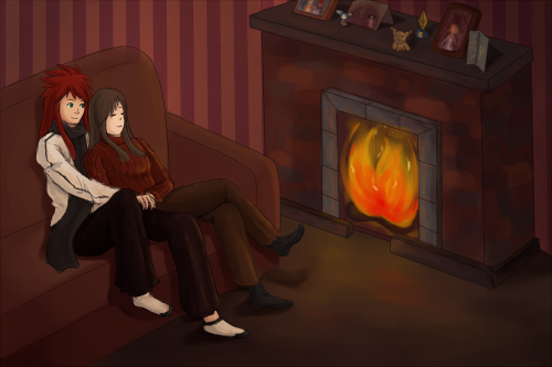 christmas request, uhhh post-game luke and tear cuddling in front of a fire/some other christmas-y activity if that's alright?   it was fun to work on the details on this one!