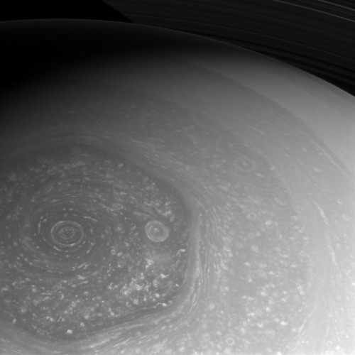 Summer is Coming!     Summer is slowly coming to Saturn's northern hemisphere. The north pole, which was in the midst of a 7-year-long winter when Cassini arrived in 2004, is now seen basking in the sunlight of mid-spring. Cassini is taking full advantage of the sunlight to capture these amazing views of the north polar hexagon and the myriad of storms, large and small, that comprise the weather systems in the polar region.      This view is centered on terrain at 75 degrees north latitude, 322 degrees west longitude. The image was taken with the Cassini spacecraft wide-angle camera on Feb. 26, 2013 using a spectral filter sensitive to wavelengths of near-infrared light centered at 752 nanometers.      The view was acquired at a distance of approximately 383,000 miles (616,000 kilometers) from Saturn and at a Sun-Saturn-spacecraft, or phase, angle of 48 degrees. Image scale is 21 miles (33 kilometers) per pixel.