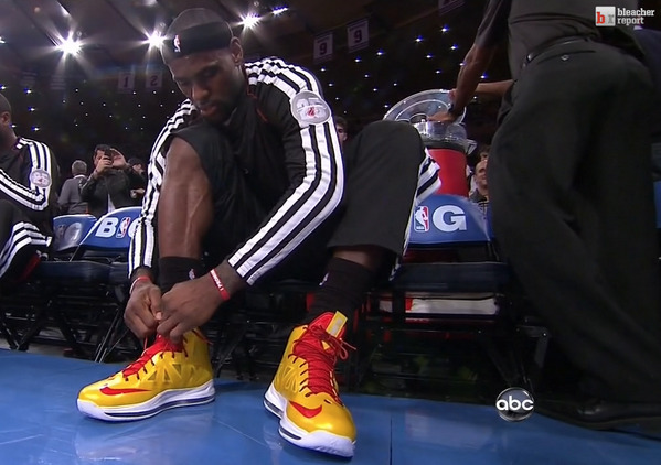 "LeBron James - LeBron James wearing the ""Carmex"" LeBron Xs at MSG today"