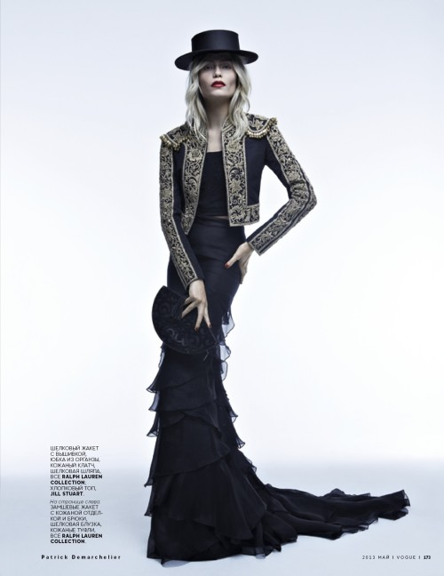 "Natasha Poly in ""Carmen & Torero"" Photographed By Patrick Demarchelier & Styled By Olga Dunina For Vogue Russia, May 2013"