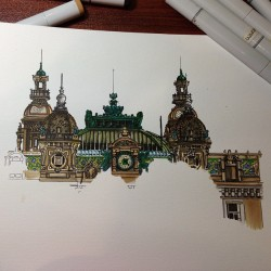 Here we go again #drawing #building #monaco #copic #drawingpen #pen #sketching #sketch #illustration #europe