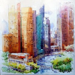 create-tivity:  Aquarelle City Illustration by Jack Tia Kee Woon.