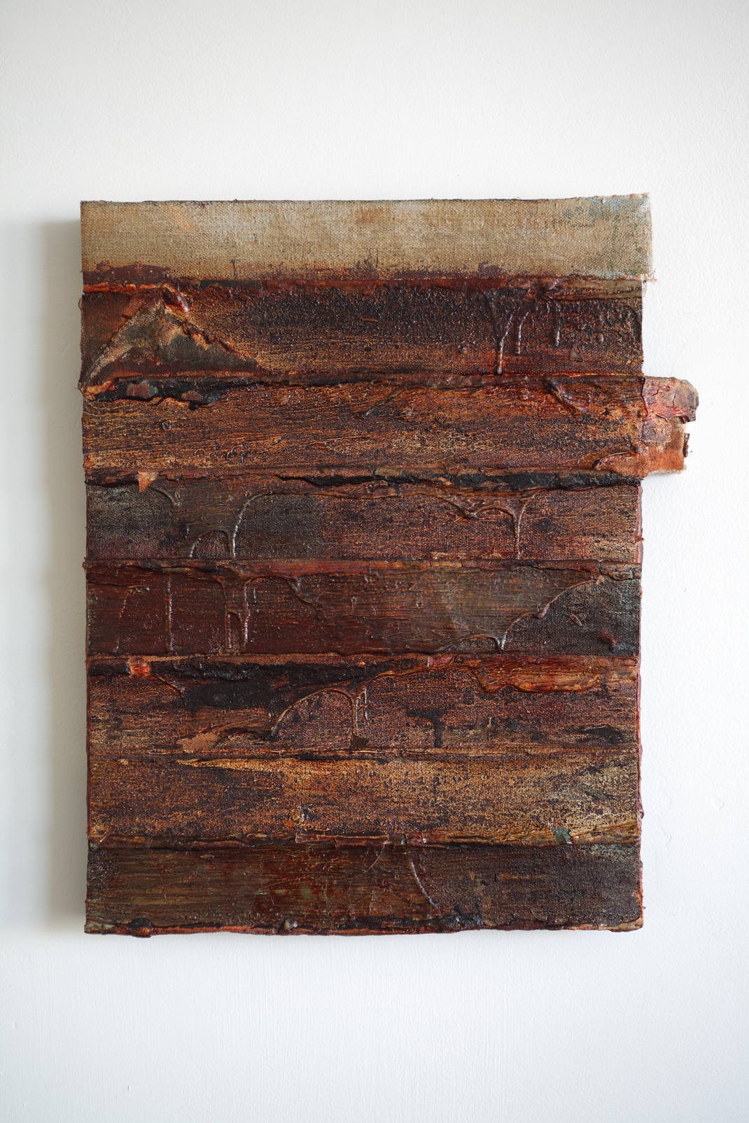 "edges,(rust lines), oil on salvaged canvas mounted on panel, 9"" by 12"", 2013 by Neal T Walsh."