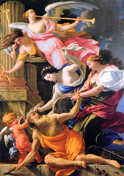 necspenecmetu:  Simon Vouet, Time Vanquished by Love, Hope, and Fame, 1645