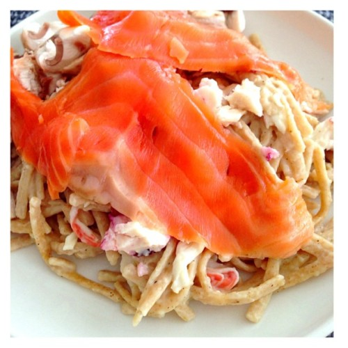 Major cheat day… #pasta #smokedsalmon #homecooking #foodporn #dietkiller