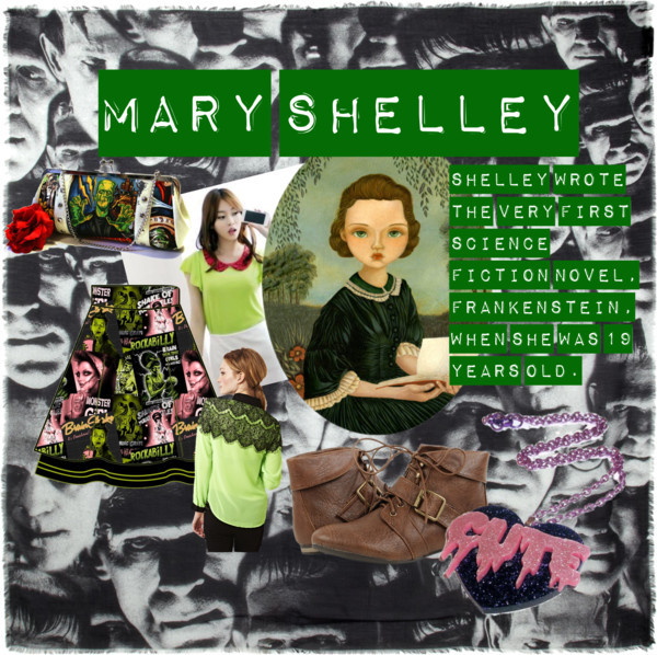 This is what I do with Polyvore, y'all. Fashion inspired by History. Mary Shelley by septemberbabs featuring flutter sleeve tops  Miss Hong flutter sleeve top / Lace top, $38 / Fold over boots / Vinyl handbag / Pendant necklace / Christopher Kane black shawl, $510 / Girl Art Print, Girl Art, Whimsical Art, Portrait Art, Poster,… / TOO FAST BRAND TULLOS TULLE SKIRT MONSTER GIRLS