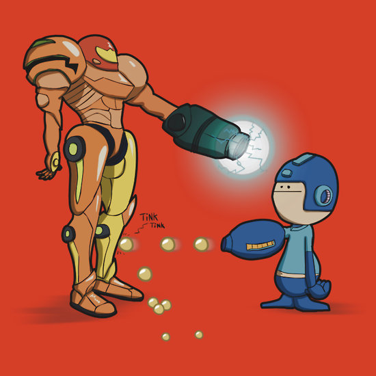 thenintendard:   Samus Vs Megaman by Aniforce