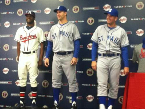 Joe Mauer and Glen Perkins modeling some throwbacks.