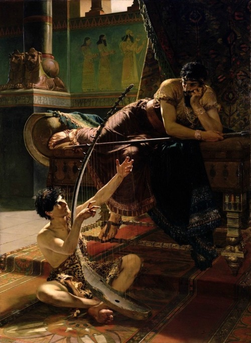 malebeautyinart:  David and Saul, Julius Kronberg, 1885.  GOD IM NOT EVEN GOING TO SAY IT BC ITLL LOOK LIKE IM CRAZY BUT OK BYE IM NOTOK