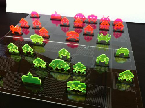 it8bit:  Space Invader Chess Set Created by NMI Laser || Facebook Back this Kickstarter.