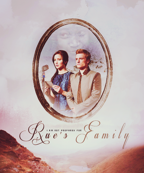 I am not prepared for Rue's family. Her parents, whose faces are still fresh with sorrow. Her five younger sibling, who resemble her so closley. The slight builds, the luminous brown eyes. They form a flock of small dark birds.