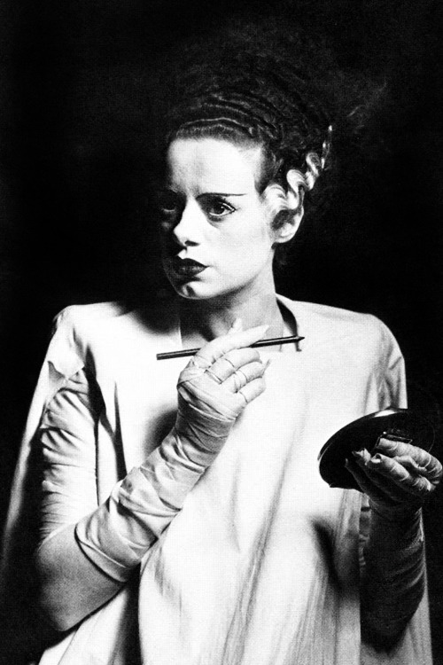 Elsa Lanchester on the set of Bride of Frankenstein (1935)