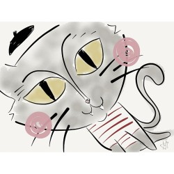 Here is a little cat #beret #illustration #cats #catsofinstagram