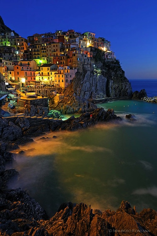 | ♕ |  Picturesque Manarola at dusk - Cinque Terre  | by © Maurizio Fontana
