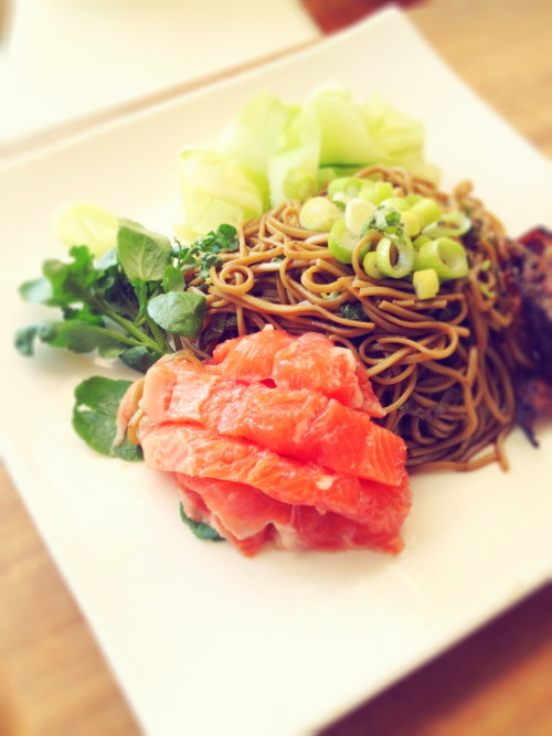 Cold meal. Hot day. Zaru soba with sashimi.   Green tea soba mixed with julienned homegrown shiso (perilla), then dressed with mentsuyu. On the side, shaved cucumber, watercress. Raw trout from Yarra Valley Salmon with  crackling made from the skin and a little wasabi.   Yummy clean Japanese flavours of Australia.
