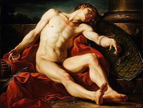 hadrian6: Death of a gladiator. 1773. Jean Simon Berthelemy. French. 1743-1811.