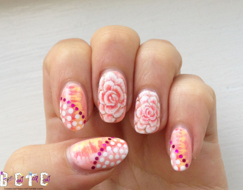 basecoat-topcoat:  PEACH PATTERNS - P.O.T.W. - L'Oreal - Macaroon Me Madly L'Oreal - macaroon me madly, Love & Beauty - light orange, Sally Hansen - white on, Revlon - copper penny, Essie - tart deco, Essie -cute as a button, American Apparel - coney island, metallic magenta hex glitters Visit the P.O.T.W. page to see more designs featuring this polish and other Polish of the Week's.