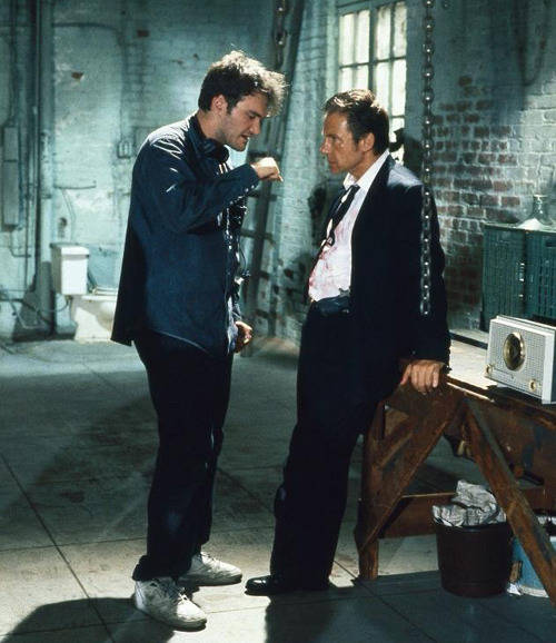 Quentin Tarantino and Harvey Keitel on the set of Reservoir Dogs (1992)