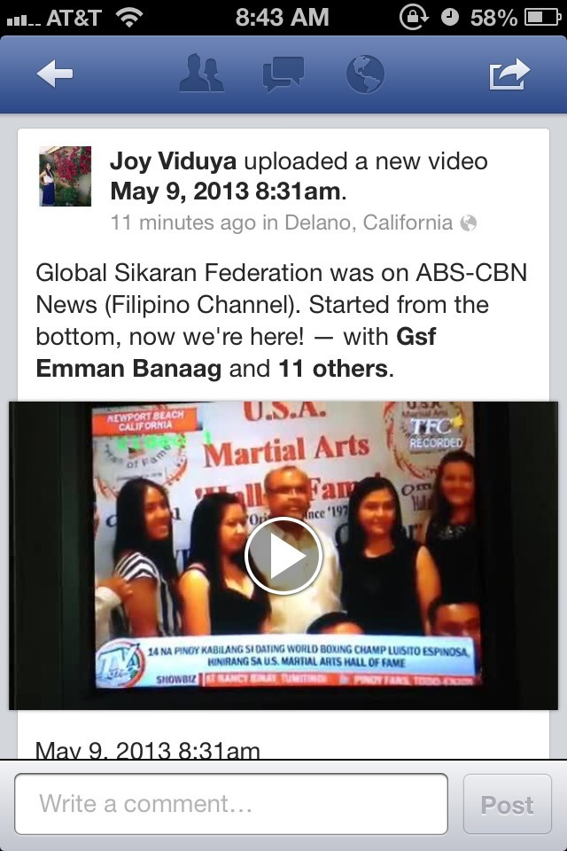 The martial arts group I'm in was in TV Patrol news on ABS-CBN (TFC/Filipino Channel). STARTED FROM THE BOTTOM, NOW WE'RE HERE!!