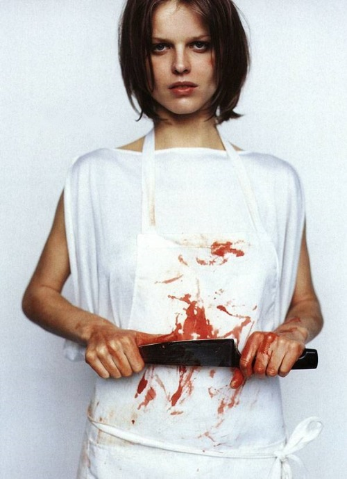 shoulderblades:  the butcher, eva herzigova by mario testino for the face, 1997